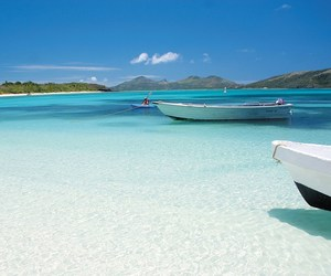 beach, paradise, and boat image