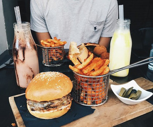 food, burger, and fries image