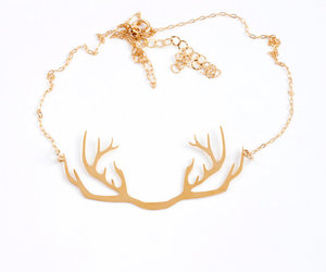 antlers, gold, and necklace image