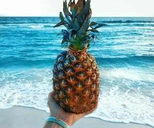 pineapple, beach, and ocean image