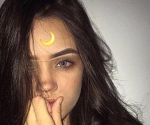 girl, tumblr, and moon image