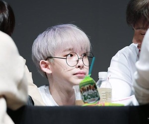 glasses, purple hair, and handsome image