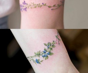 tattoo, flowers, and bracelet image