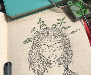 black beauty, curly, and drawing image