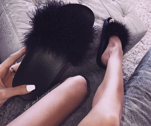 black, fuzzy, and glam image