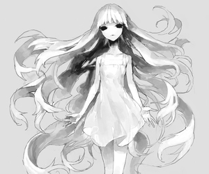 black eyes, long hair, and pony image
