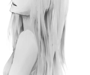 anime, girl, and black and white image