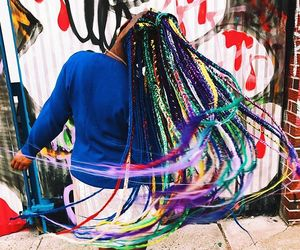 braids, colourful, and hair image