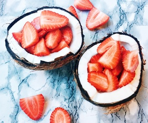 coconut, food, and strawberry image
