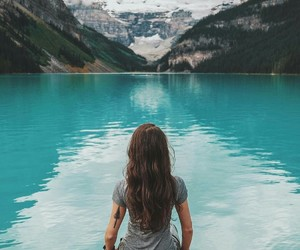 girl, mountains, and blue image
