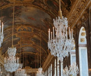 chandelier, versailles, and gallerie image