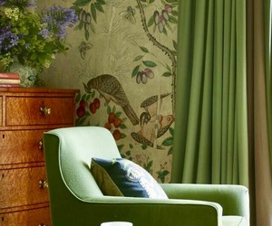 armchairs, home decor, and wallpaper pattern image
