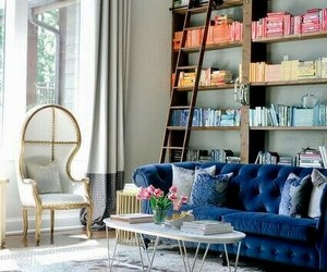 bookcases, living room, and home library image