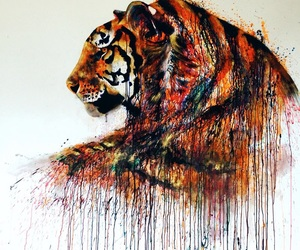 art, tiger, and animal image