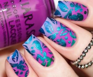 nails, uñas, and uÑas morado&azul image
