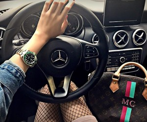 car, rich girl, and mercedes-benz image