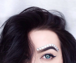 black hair, blue eyes, and diamond image