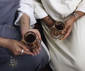 muslim, tea, and abaya image