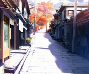 anime, street, and landscape image