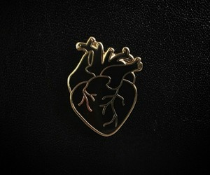 heart, gold, and black image