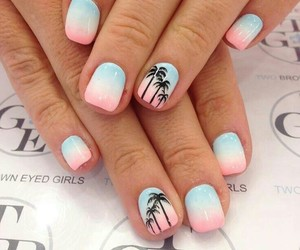 nails, palm trees, and summer image