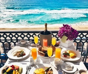 food, beach, and breakfast image