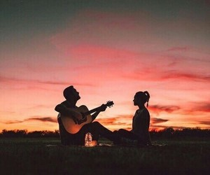 love, couple, and sunset image