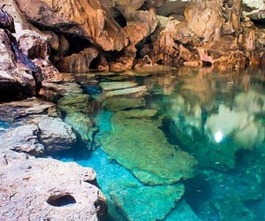 water, blue, and cave image