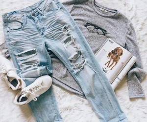 casual, jeans, and gris image