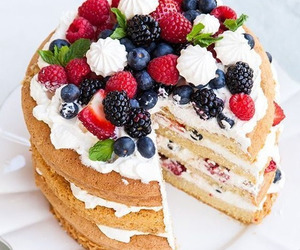 food, cake, and berries image