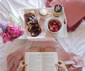 breakfast, pink, and books image