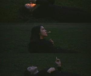 girl, sadness, and smoke image