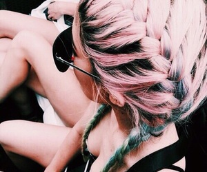 hair, pink, and teal image