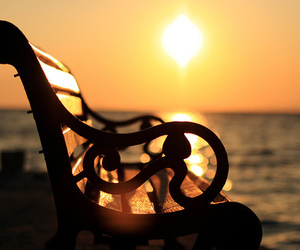 sun, sunset, and bench image