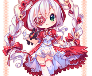 bow, red dress, and eyepatch image
