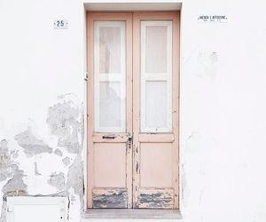 white, door, and pink image