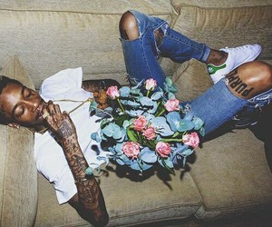 wiz khalifa, flowers, and man image