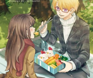 yoosung, mystic messenger, and couple image