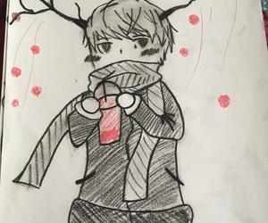 black, deer, and drawings image