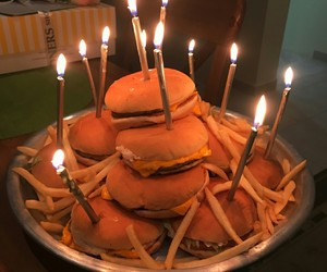 food, burger, and birthday image