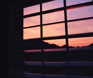 sky, sunset, and window image