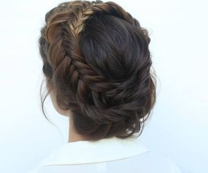 braid, crown, and brunette image