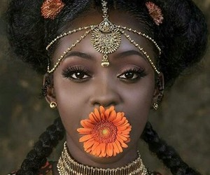 beauty, melanin, and flowers image