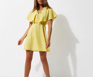 fashion, cape dress, and yellow image
