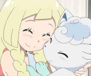 anime, lillie, and alolan vulpix image