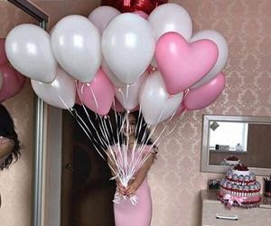 balloons, girl, and pink image