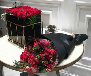 flowers, black, and style image