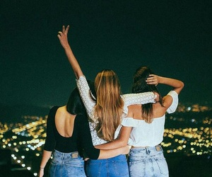 friends, night, and friendship image