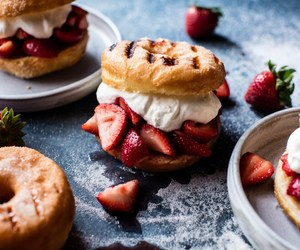 food, donuts, and strawberry image