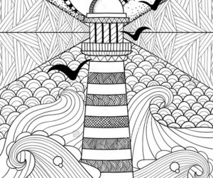 doodle, lighthouse, and pattern image